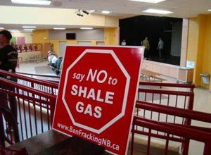 Maxime Daigle protesting shale gas drilling in New Brunswick, Canada