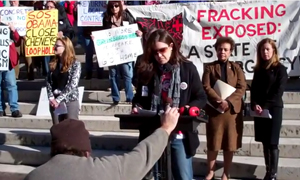 Ohio Statehouse fracking protest video
